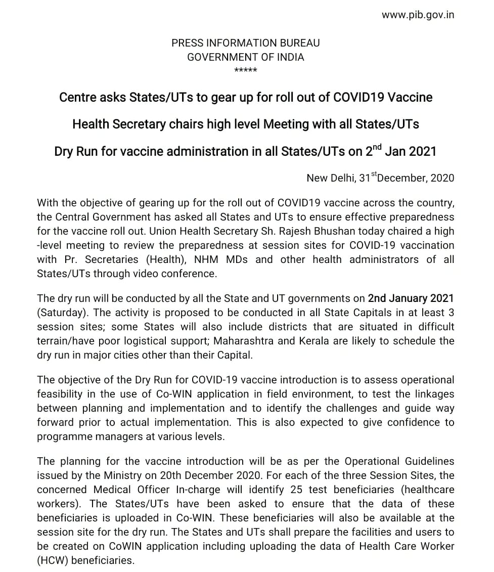 #Unite2FightCorona  #IndiaFightsCorona  Centre asks States/UTs to gear up for the roll-out of #COVID19 Vaccine.  Health Secretary chairs high level Meeting with all States/UTs.  Dry Run for vaccine administration in all States/UTs on 2nd Jan 2021.  https://t.co/weUEfWJIt1 https://t.co/QUCeinFurk