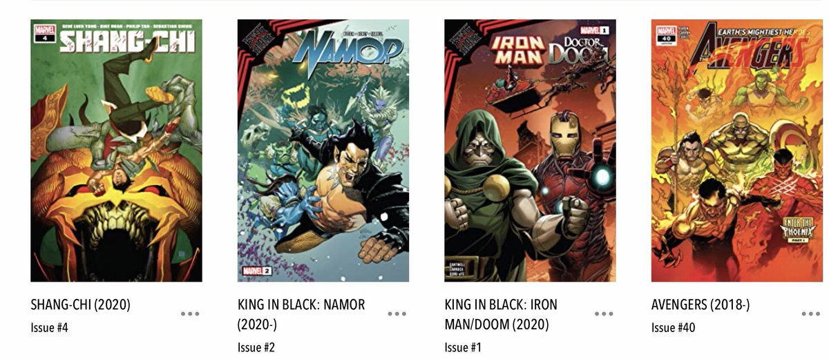 I know #NCBD was yesterday and I *read* the comics then, but due to exciting potential dog stuff, I only have time to post my #MarvelsPullList today - #KingInBlackDrDoomAndIronMan #KingInBlackNamor, #ShangChi and #Avengers. Seriously, those King in Black books need shorter titles