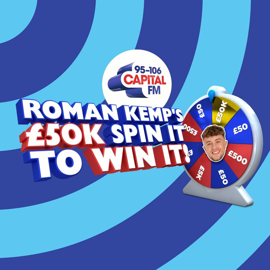 We're kicking off the New Year with a brand new game for you here on Capital…  You could be coming on Capital to spin the wheel and potentially WIN £50,000 on @romankemp's £50K Spin It To Win It! 💰💰💰