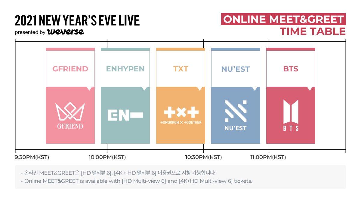 잠시후 밤 9시 30분(KST)부터 #2021NYEL 공연이 시작됩니다. 온라인MEET&GREET 타임 테이블📅을 확인하시고, 스트리밍페이지에 입장하여 공연 볼 준비를 해보세요! 👉  이용권구매는 12/31(목) 23:00(KST)까지 👉
