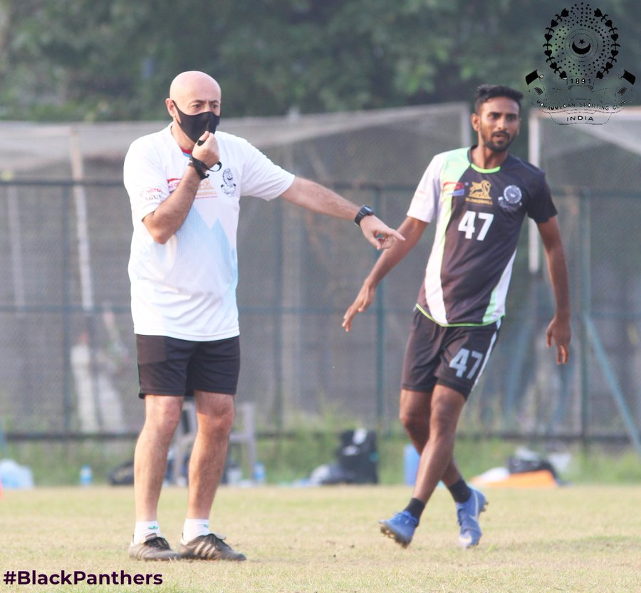 Head coach Jose Hevia instructs his players as Mohammedan Sporting Club prepare for I-League