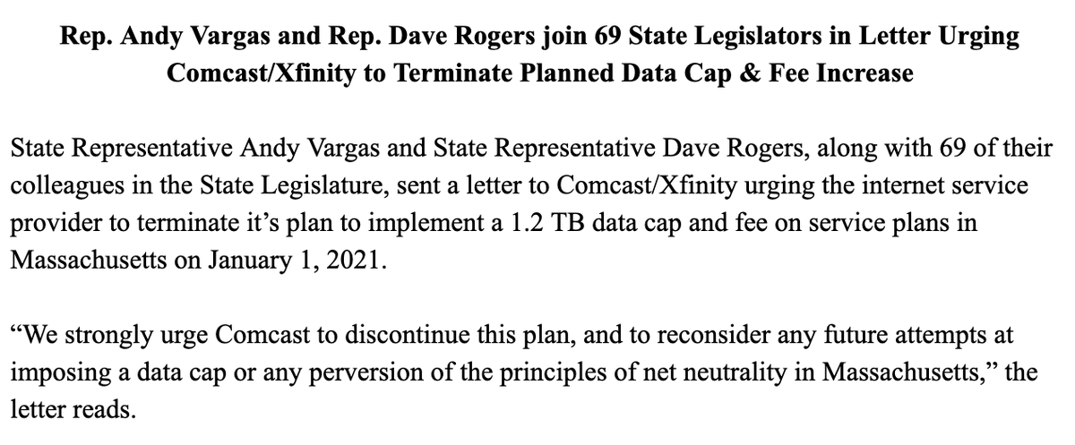 Andy X Vargas S Tweet In 2021 Comcast Plans To Raise Internet Prices In Massachusetts Yesterday Repdaverogers I Partnered W 69 Of Our Colleagues To Strongly Urge Them To Discontinue This
