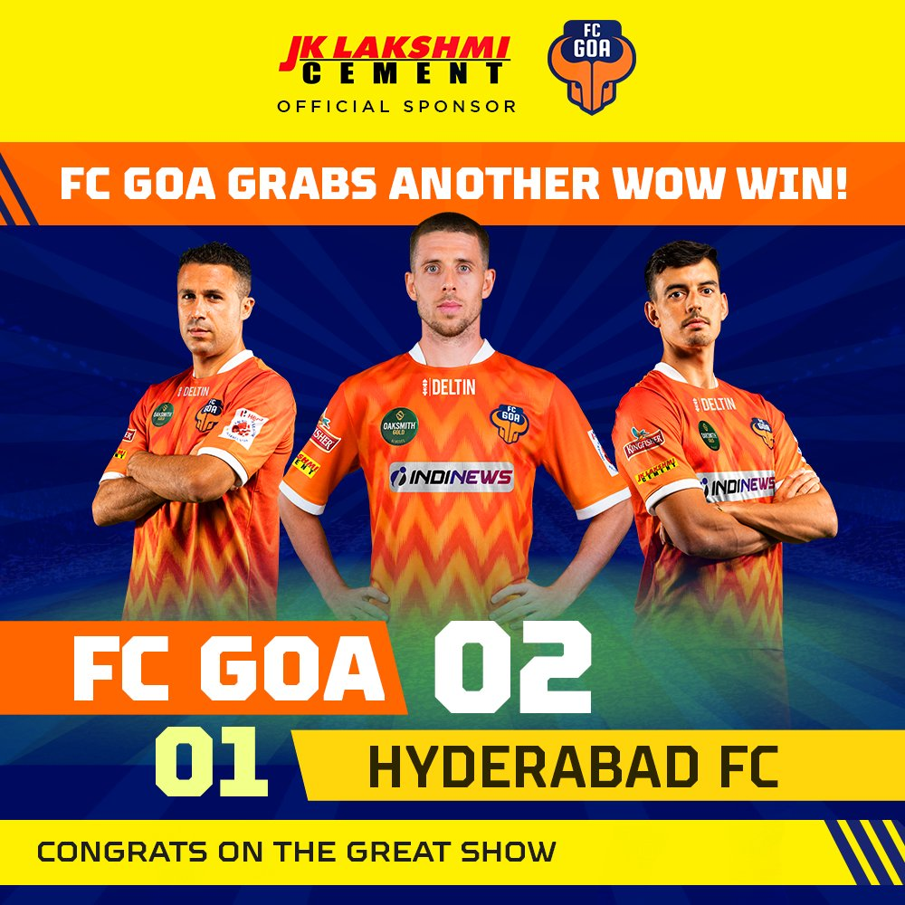 3 more points scored in style by @FCGoaOfficial as they make a thrilling comeback with the win against Hyderabad FC.   Good going, team!  #fcgoa