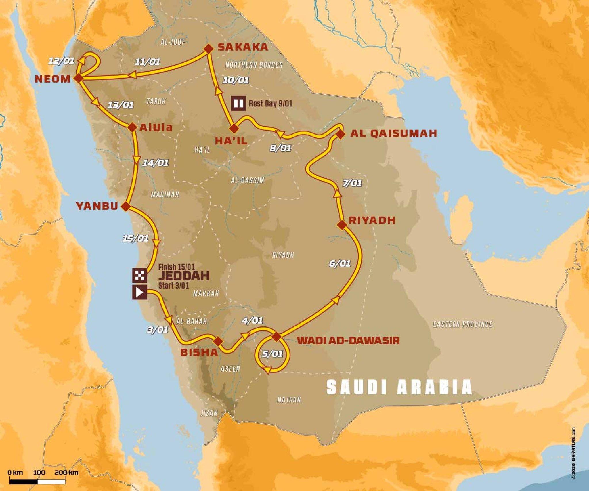 Dakar 2021 útvonal