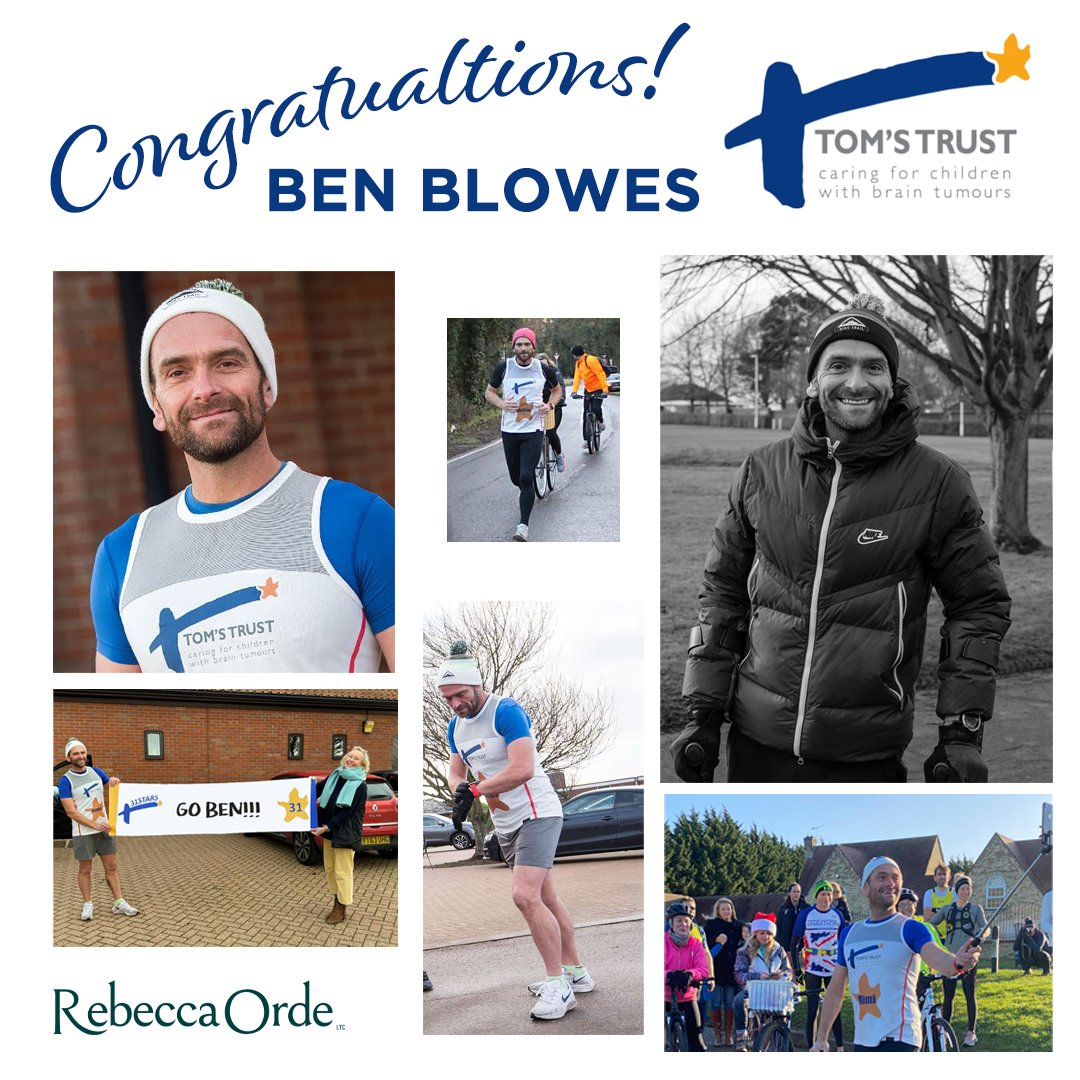 Through sheer determination Ben Blowes @benjyblowes has raised over £130k for @tomstrust during his #31marathons31days challenge. 130+ children with brain tumours & their families will receive mental health support for 1 year. Photo credit @nigelgutgenug