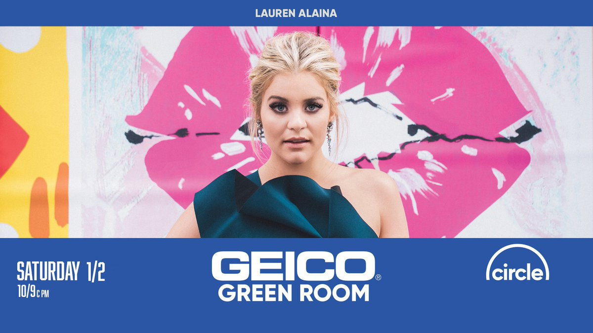 .@Lauren_Alaina is in the #GEICOGreenRoom this weekend, y'all! Head to  after the Opry Live show for a special interview at 10/9c pm. See you there! 🤩😉 @GEICO