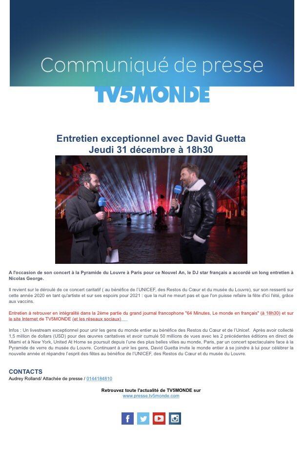 À quelques heures de la diffusion sur ses réseaux sociaux de son concert au pied @MuseeLouvre, @davidguetta a accordé un long entretien à @nicolasgeorge_ @TV5MONDEINFO ce soir à 18h30 heure française sur @TV5MONDE. Concert caritatif au profit @UNICEF @UNICEF_france @restosducoeur