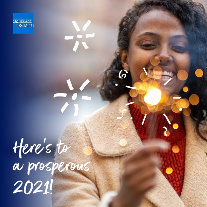 Here's to 2021! We hope the new year brings success, new opportunities and achievements. Let us know your business goals for 2021 in the comments below! #HappyNewYear #AmexBusiness