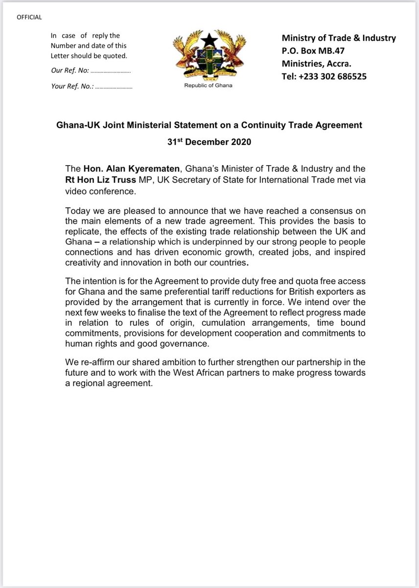 Ghana -UK Joint Ministerial Statement on a Continuity Trade Agreement https://t.co/sjc6CvuHGt