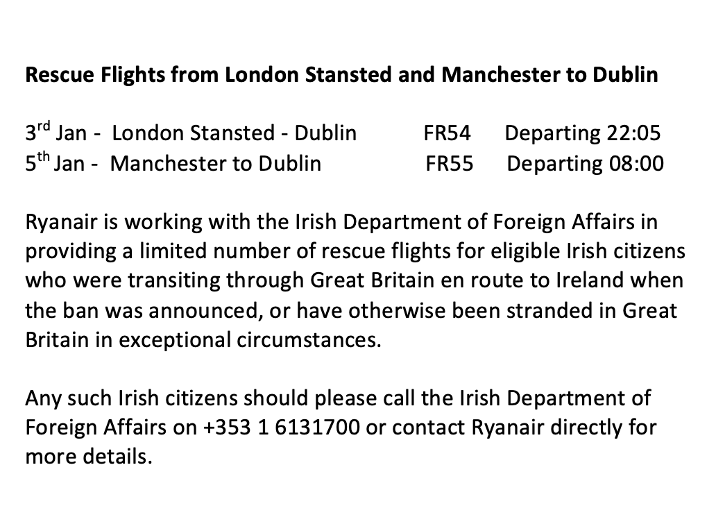 We're working with the Irish Department of Foreign Affairs in providing a limited number of rescue flights for eligible Irish citizens who were transiting through Great Britain en route to Ireland when the ban was announced.   Please see here for the details: https://t.co/EDefRkMzZO