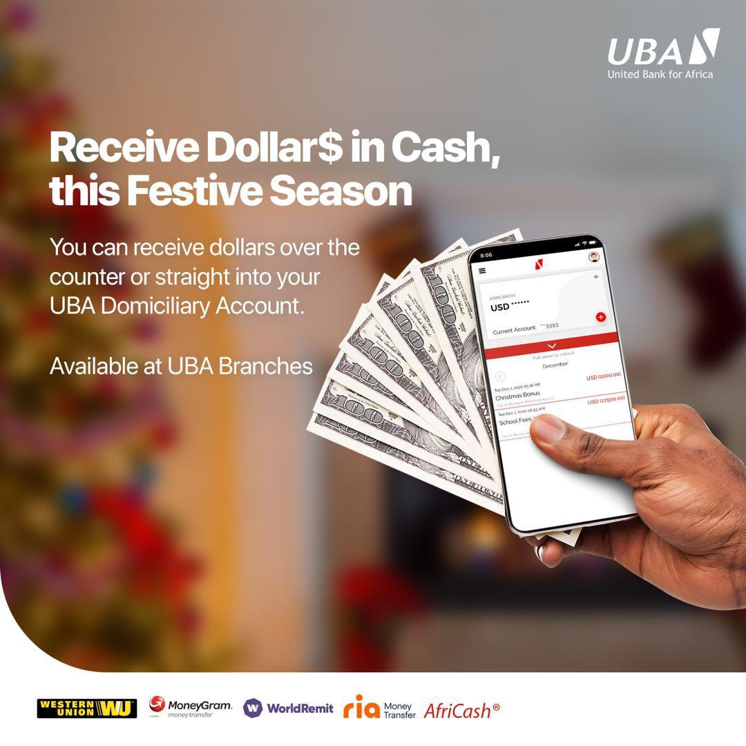 You can now receive dollars in cash or straight into your UBA Domiciliary Account 💃🏾🕺🏽.  Available at UBA Branches nationwide. Visit a branch close to you to open a UBA Domiciliary Account. #AfricasGlobalBank #UBACares