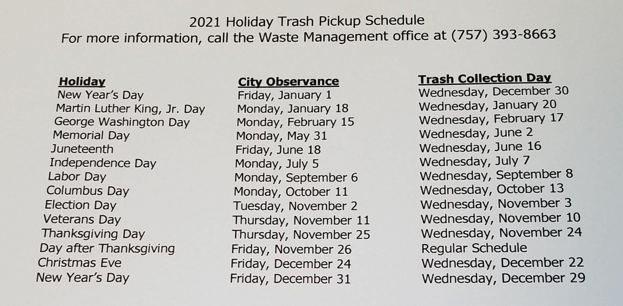 Trash Pickup Schedule Christmas 2021 City Of Portsmouth On Twitter Here S The 2021 Holiday Trash Pickup Schedule Please Print Out Save And Post On Your Fridge The Schedule Will Be Posted On The Website Asap Happy New