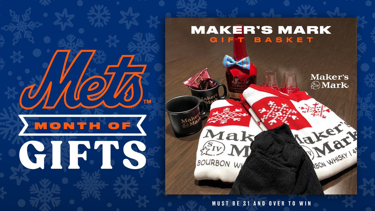 🥃 RT TO WIN 🥃  Cheers to 2⃣0⃣2⃣1⃣! Retweet this to enter to win a @MakersMark Gift Basket including a Rob Samuels signed bottle of Maker's Cask Strength, two sweaters, coffee mugs, dipped glasses, Maker's blended coffee, and gloves. Must be 21+. #MetsMonthOfGifts