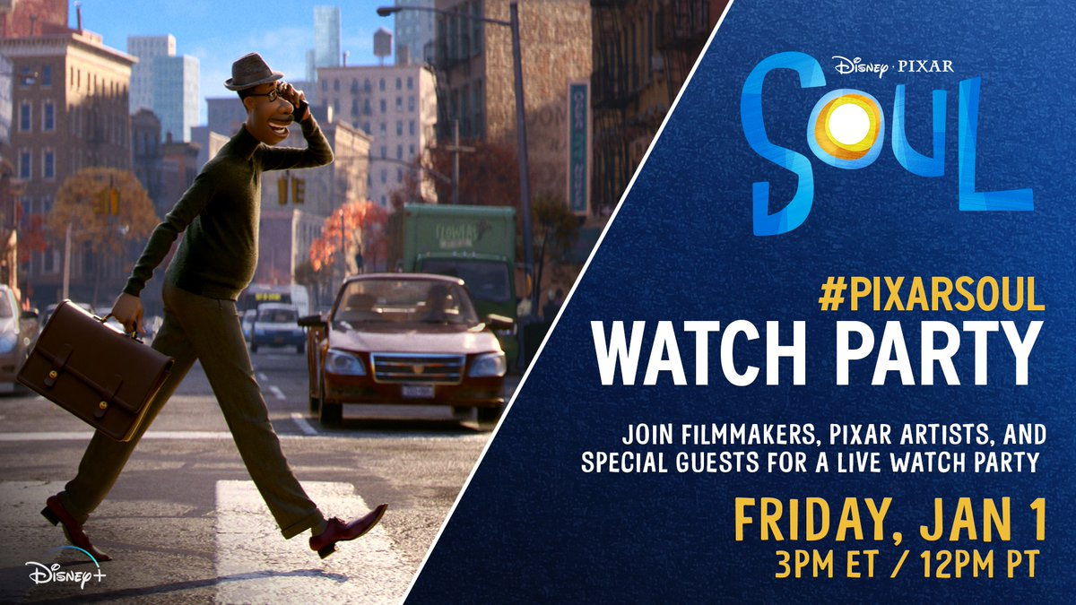 Start your year with Soul ✨ Tomorrow at 12:00pm PT, join filmmakers, @Pixar artists and special guests for the #PixarSoul watch party!