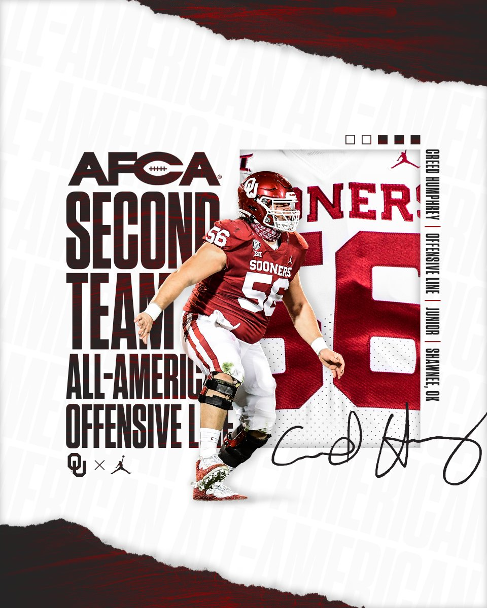 Humphrey picks up AFCA All-America honor. ➡️ bit.ly/3rIMcMs | #OUDNA