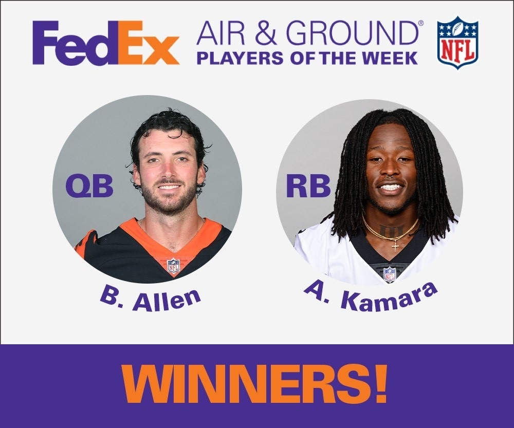 High fives to Brandon Allen and Alvin Kamara for being named the Week 16 FedEx #AirandGround @NFL Players of the Week! Well done!