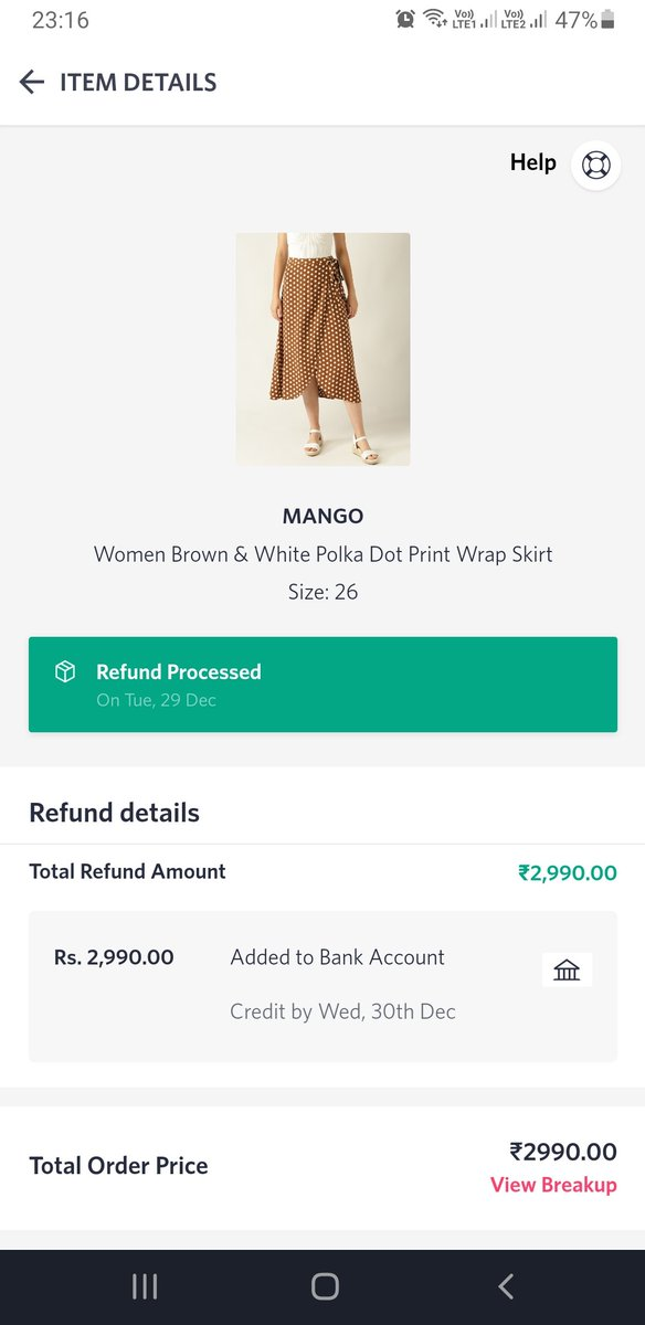 @_Amar_N yet another time @myntra defaults. The amount was to be refunded and credited by Wed 30th Dec and till now I have not got the refund yet. #myntraeors #myntraendofreasonsale