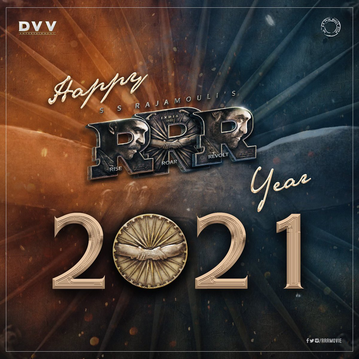 Happy RRR Year to you all! Wishing a happy and healthy year ahead for everyone 😊  Today, we are not just promising, rather declaring that we will give you a BLASTING experience throughout the year 🔥🌊 #RRR #RRRMovie