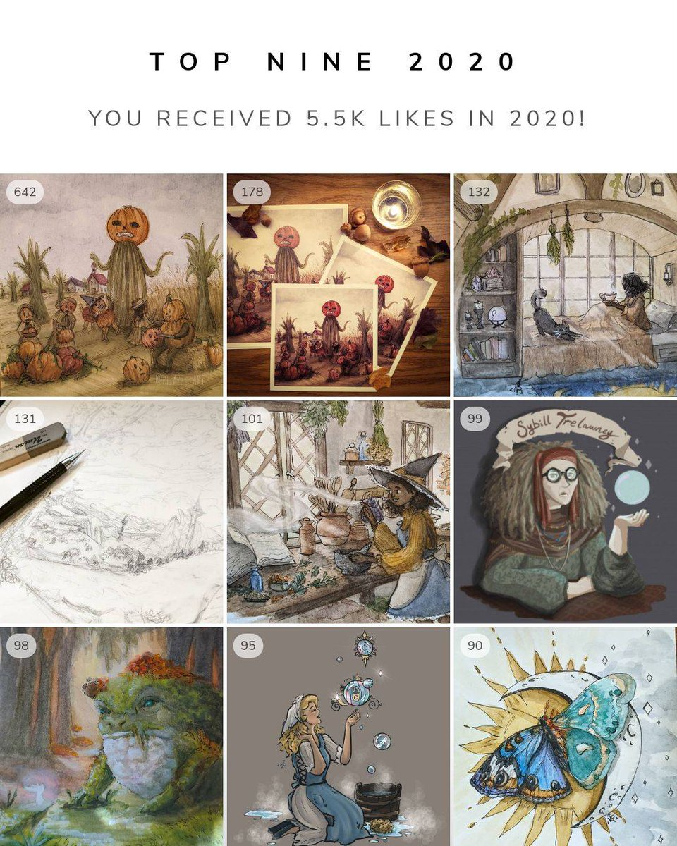 What a year, amiright...first slide is my top nine for 2020. Second is a few other favs of mine😊 Crazy to see how much I've created and improved! I cant wait to start creating in 2021! @pizazze_art #pizazze_art #topnine2020 #traditionalart #digitalart #procreate #mytopnine