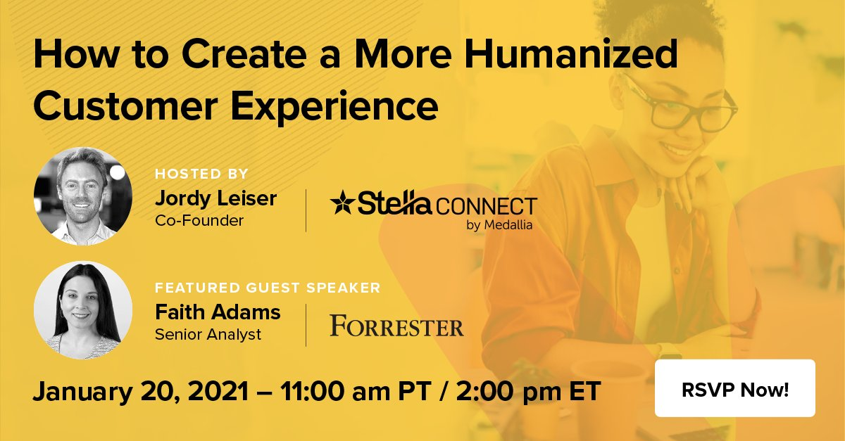 The modern #CustomerExperience has undergone a major transformation in the last year. Increase brand loyalty and drive growth by creating a more humanized experience for customers. Join @StellaConnect and @forrester guest speaker Faith Adams. RSVP now! https://t.co/61gGhviVam https://t.co/3vP4XStK3M