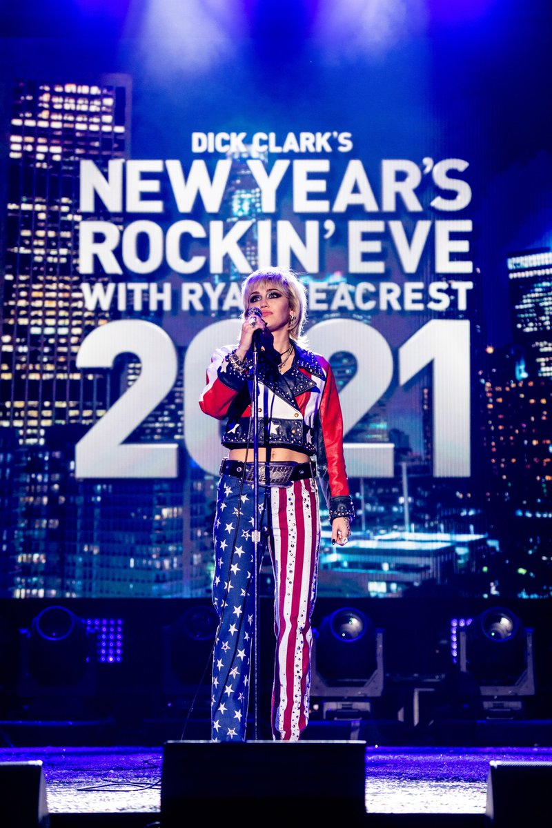 It's officially a party in the USA! Starting the night strong with the one and only @MileyCyrus. #RockinEve