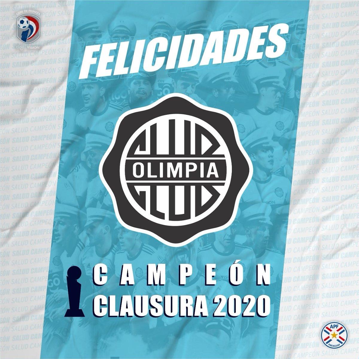 🙌🏼 Salud Campeón 🏆 @elClubOlimpia 🎉Felicidades por la obtención del título del torneo @copadeprimeraapf Clausura 2020 https://t.co/BFBDdNe0wv