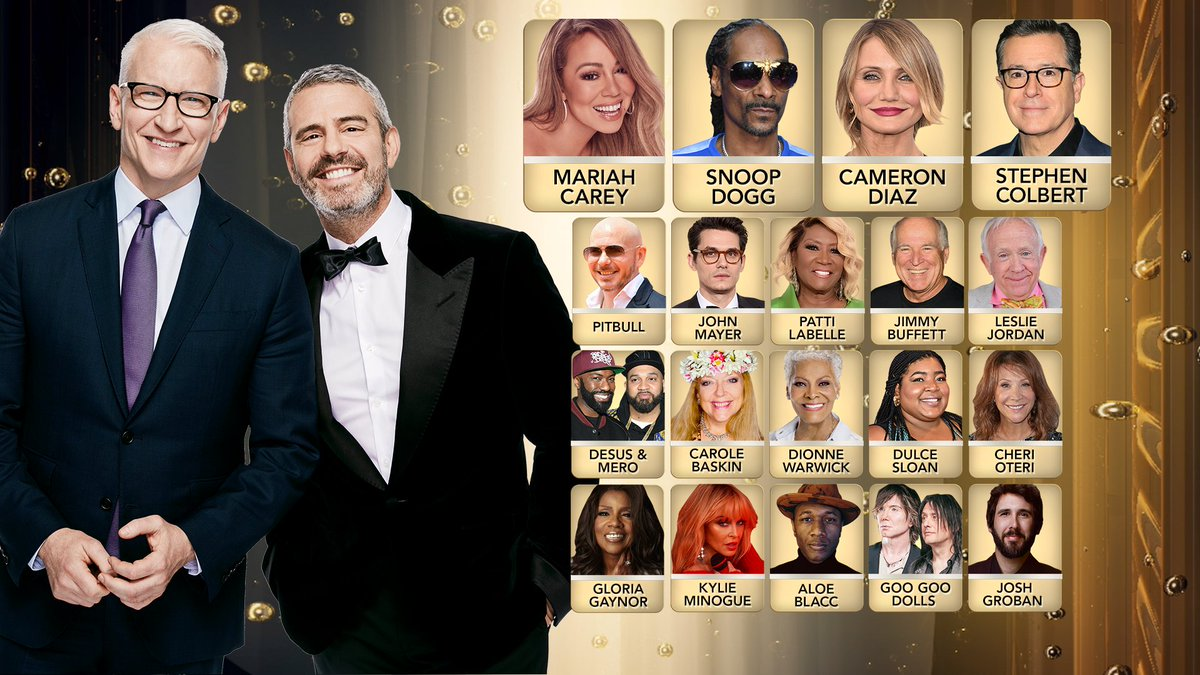 Join us at 8p.m. ET to ring in 2021 🥳 #CNNNYE with @MariahCarey @SnoopDogg @StephenAtHome @CameronDiaz @pitbull @thelesliejordan @dionnewarwick @JohnMayer @jimmybuffett @desusnice @THEKIDMERO @aloeblacc @dulcesloan @googoodolls @kylieminogue @joshgroban @jimmybuffett @cherioteri