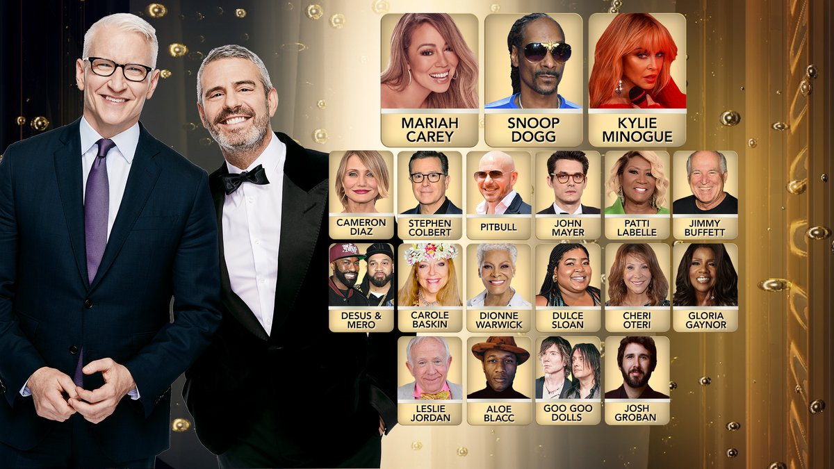 The party's about to begin! 🥳  Join #CNNNYE with @MariahCarey @SnoopDogg @StephenAtHome @CameronDiaz @pitbull @thelesliejordan @dionnewarwick @JohnMayer @jimmybuffett @desusnice @THEKIDMERO @aloeblacc @dulcesloan @googoodolls @kylieminogue @joshgroban @jimmybuffett @cherioteri