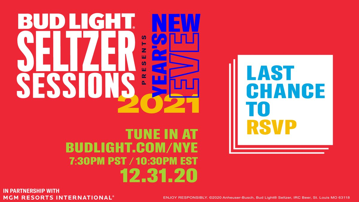 Tonight's the night! We'll be live in just a few hours with our #BudLightSeltzerSessions NYE stream. We're only promoting it this much because we know it's going to be awesome. We promise. Join us here at 10:30 EST: