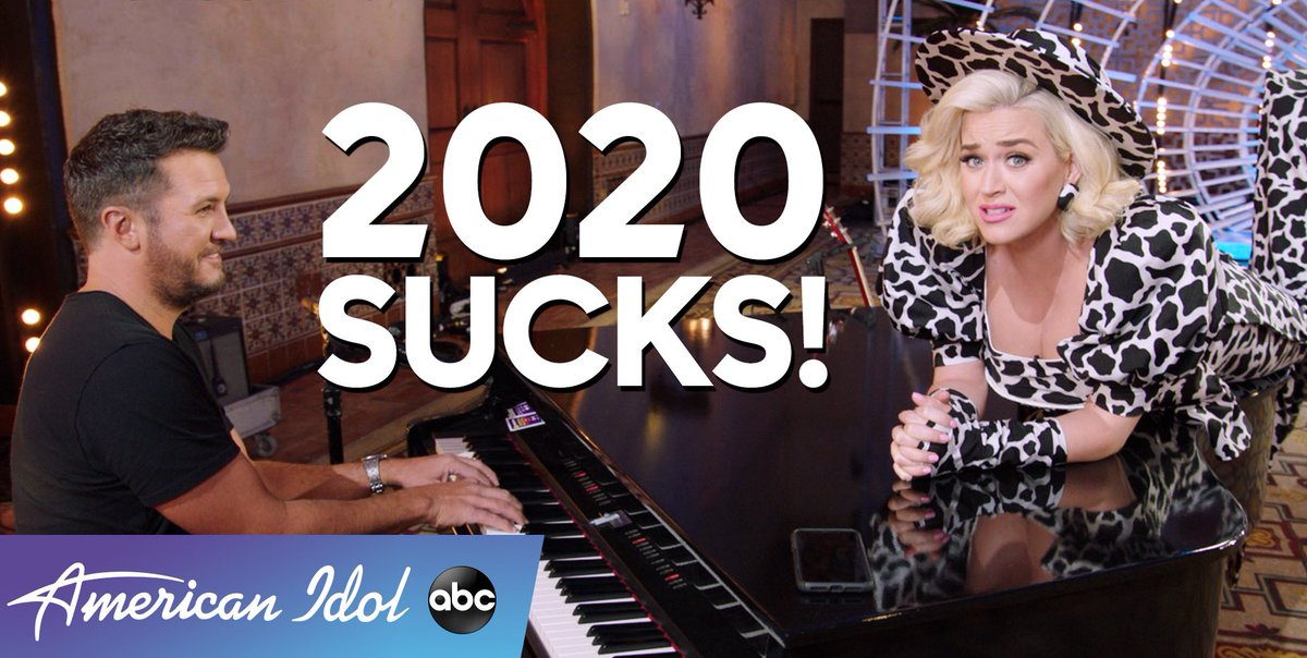 Sometimes on the #AmericanIdol set our judges make up silly songs. 🤪  Tonight on #RockinEve we share one of those moments with you, so don't miss @katyperry and @LukeBryanOnline singing #2020Sucks!