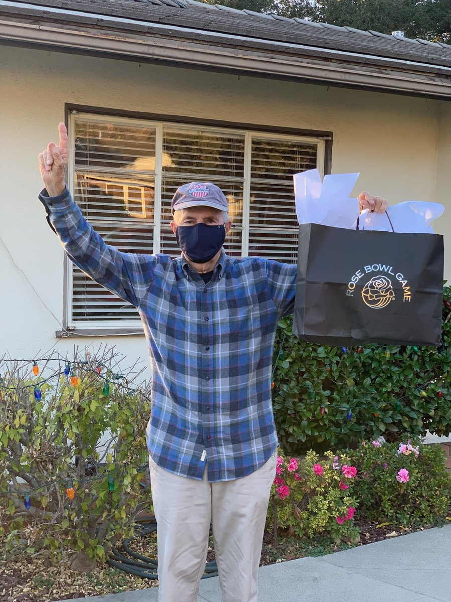 For those who don't know, Donald Leis has been to 73 straight #RoseBowl Games. This is the first game since 1947 he won't be in the stands.  We miss you, Donald! We wish you could have joined us, but we hope you like the gifts. Enjoy your jog up the hill!