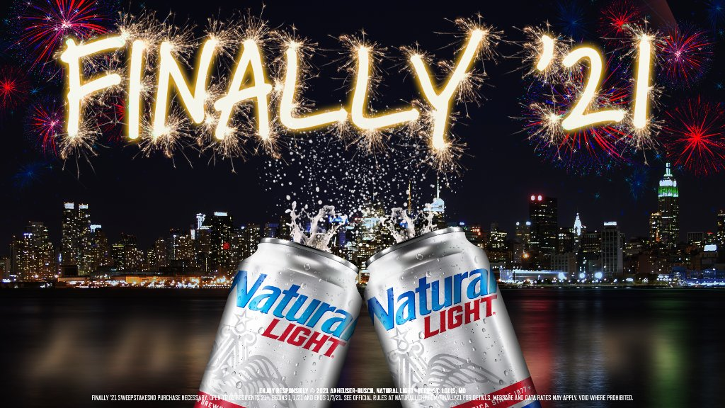 We finally made it to 2021!   To celebrate '20 turning into '21, we're giving away 2,021 cases worth of Natty to 2,021 of you. All you have to do is RETWEET with #FINALLY21 & #Sweepstakes and you could win Natty on us. 2021 is already WAY better than last year.