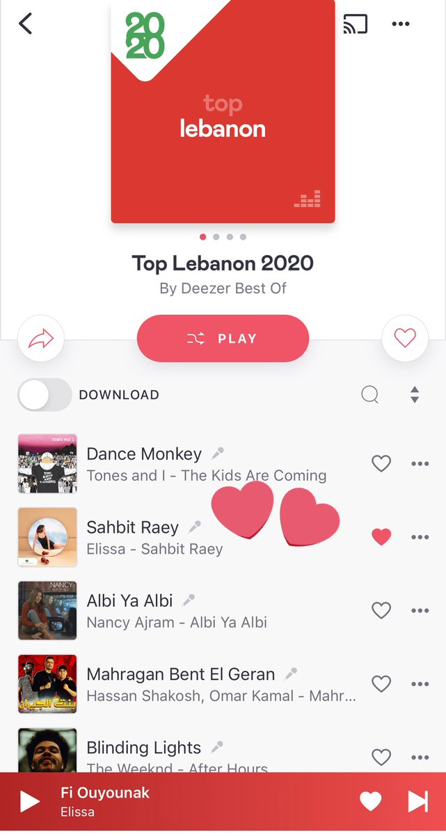 Congratulations Elissa ❤️ #SahbitRaey is on Top of  Top Lebanon 2020 songs On @DeezerMENA @elissakh  Yes she started 2021 by new success #Elissa ❤️ 🇱🇧