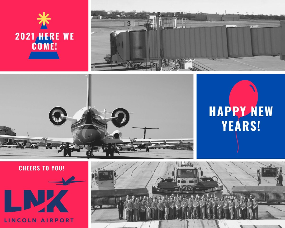 Happy New Years to all our passengers, employees and friends of #LNK.  Cheers to 2021!   #FlyLNK #FlySafe #FlyLocal #Cheersto2021