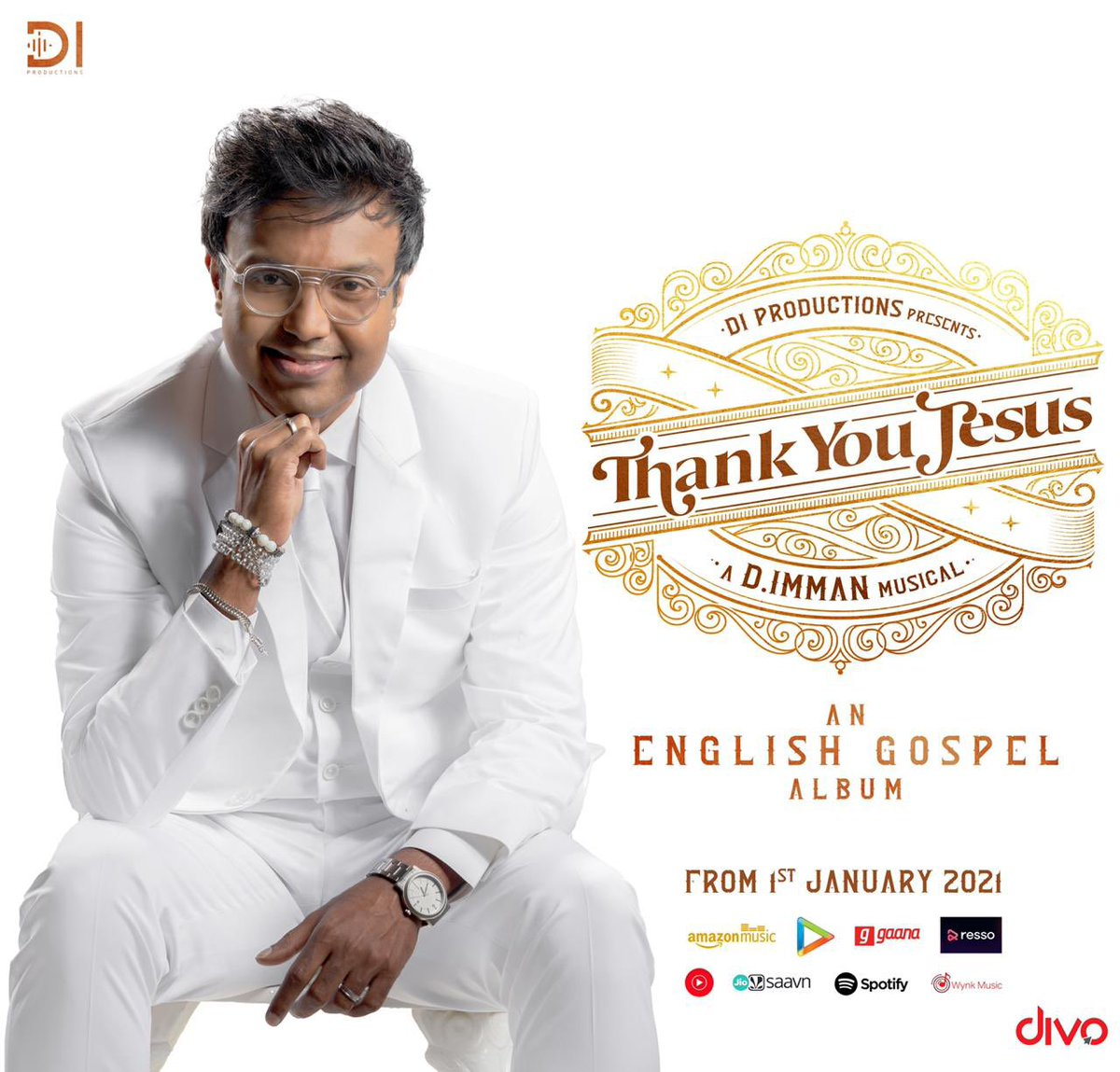 Immense Joy to launch @immancomposer 's #DIProductions #ThankYouJesus An English Gospel Album!  #DImmanMusical @divomovies @DoneChannel1  Official YouTube Link:-    Official Hyperlink to Multiple Audio Streaming Platforms:-
