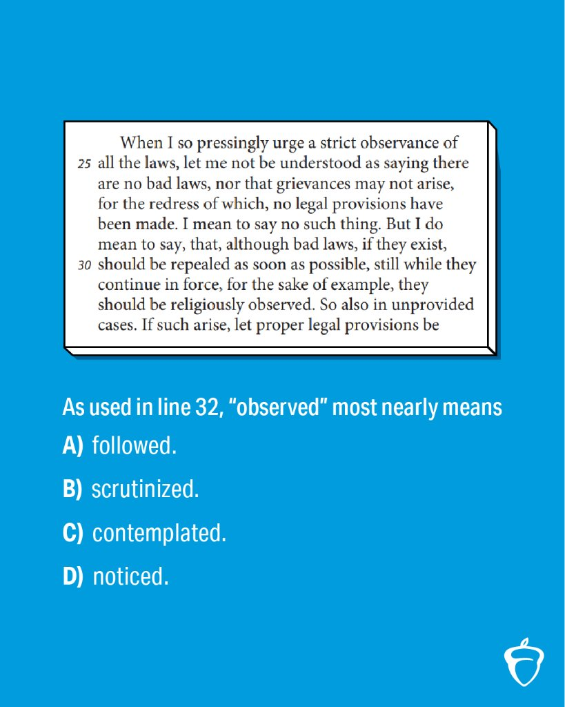 Reply with your answer to this #SATPractice question, and we'll post the right one later today.