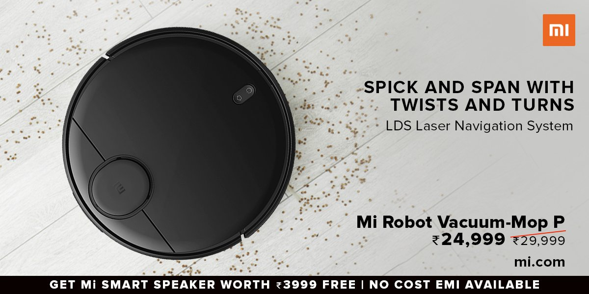 Intelligent mapping and route planning.   Mi Robot Vacuum-Mop P comes with LDS Laser Navigation System.   Available on  at ₹24,999. Also, get #MiSmartSpeaker worth ₹3,999 for free.  Know more: