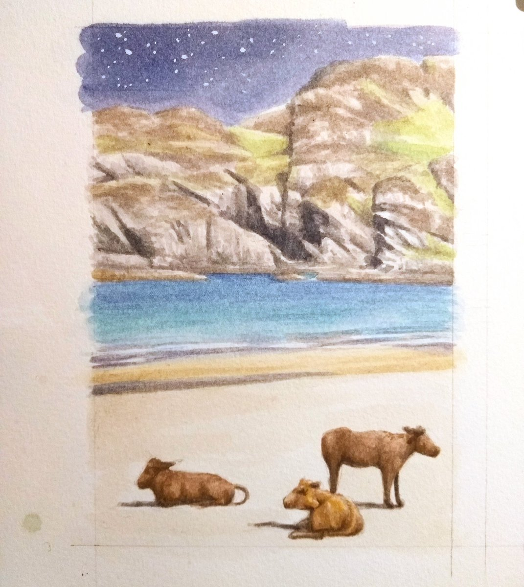 test Twitter Media - Cows on a beach. Kiloran Bay, Colonsay. Scotland. #watercolour https://t.co/DCfGkQ7aVL