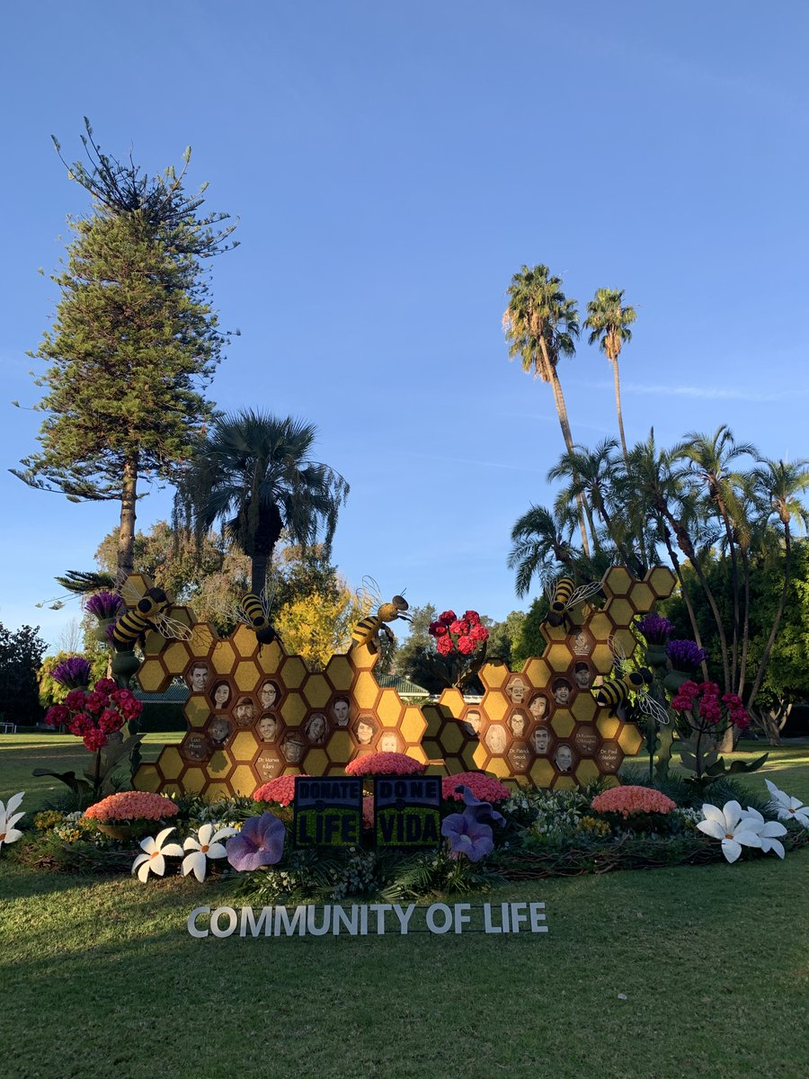"""The 2021 @DonateLifeFloat is a floral sculpture honoring @DonateLife's """"Donation Healthcare Heroes."""" The art installation is currently on display at Tournament House in @PasadenaGov. #RoseParadeReimagined"""