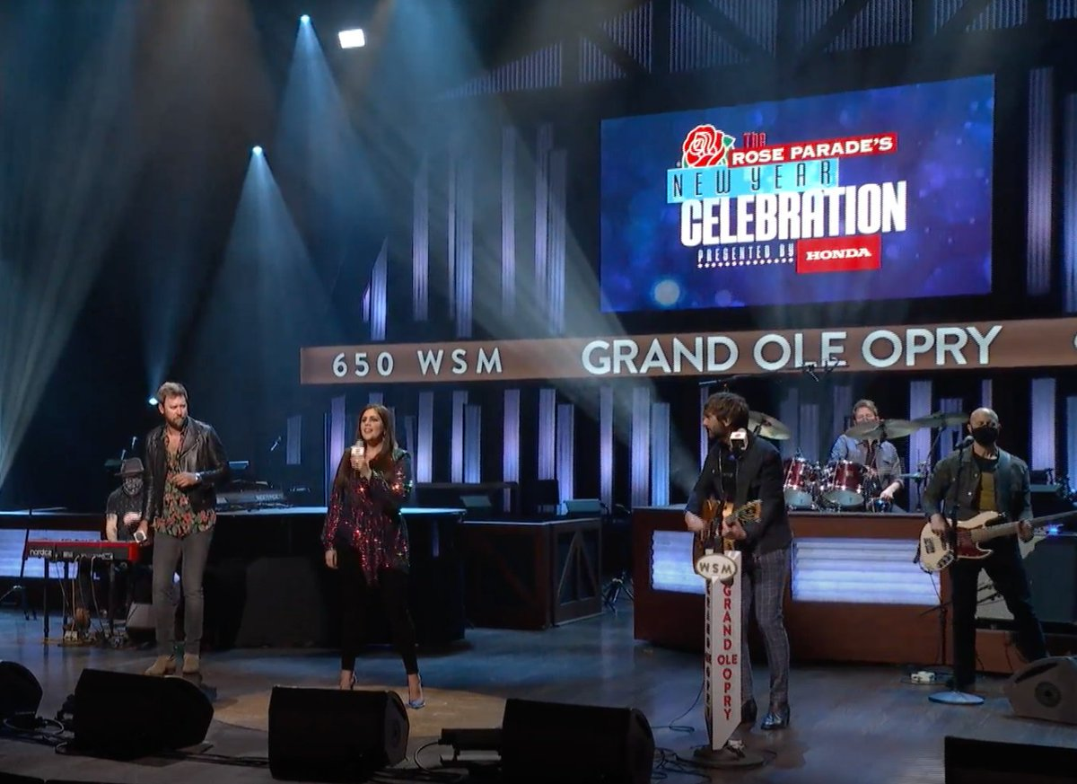 """From the Grand Ole @Opry in Music City, @LadyA performs """"Champagne Nights"""" to bring in the New Year! #RoseParadeReimagined"""