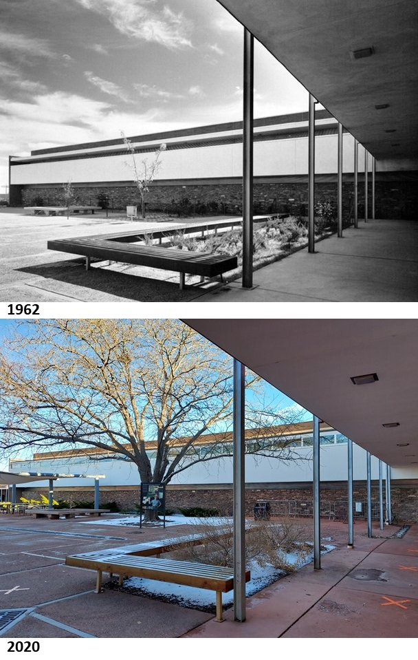 Compare two photos from 1962 (when it was built) and 2020 of the plaza outside of the Painted Desert Visitor Center. Definitely some changes and a bit of a skew due to different camera/lens formats. (hl) #TBT #ThrowbackThursday #history #PetrifiedForest #nationalpark