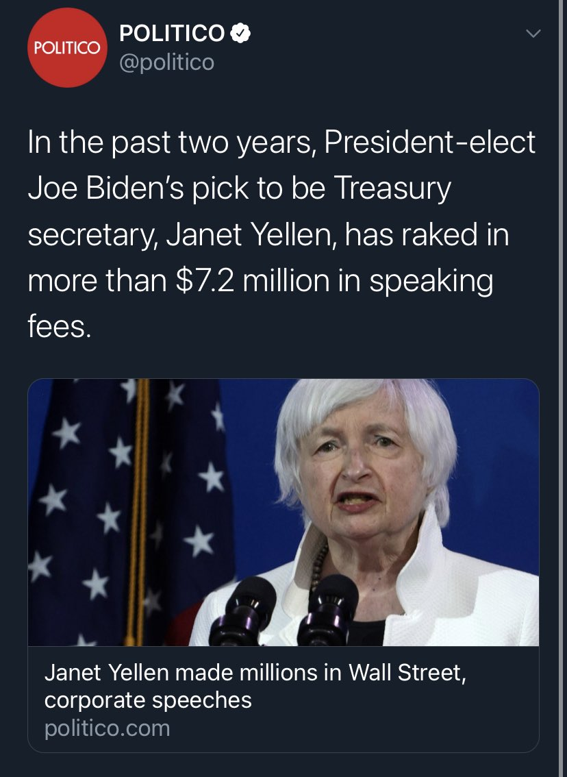 .@Politico's first story of the year is misogynistic— right on brand for them. Yellen is an economic expert and so she is being paid for her expertise. Period.
