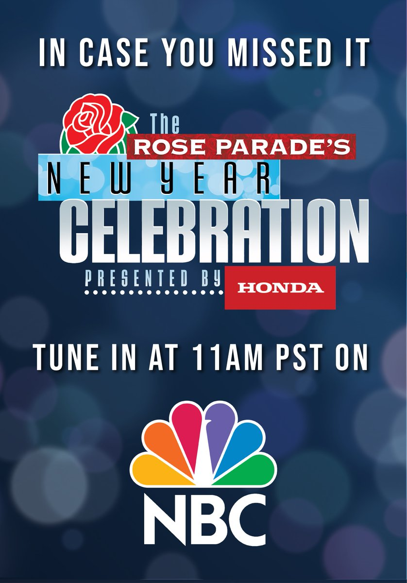 """In case you missed the """"The Rose Parade's New Year Celebration presented by @Honda"""" benefitting @FeedingAmerica, re-watch it again at @NBC at 11am PST. #RoseParadeReimagined"""