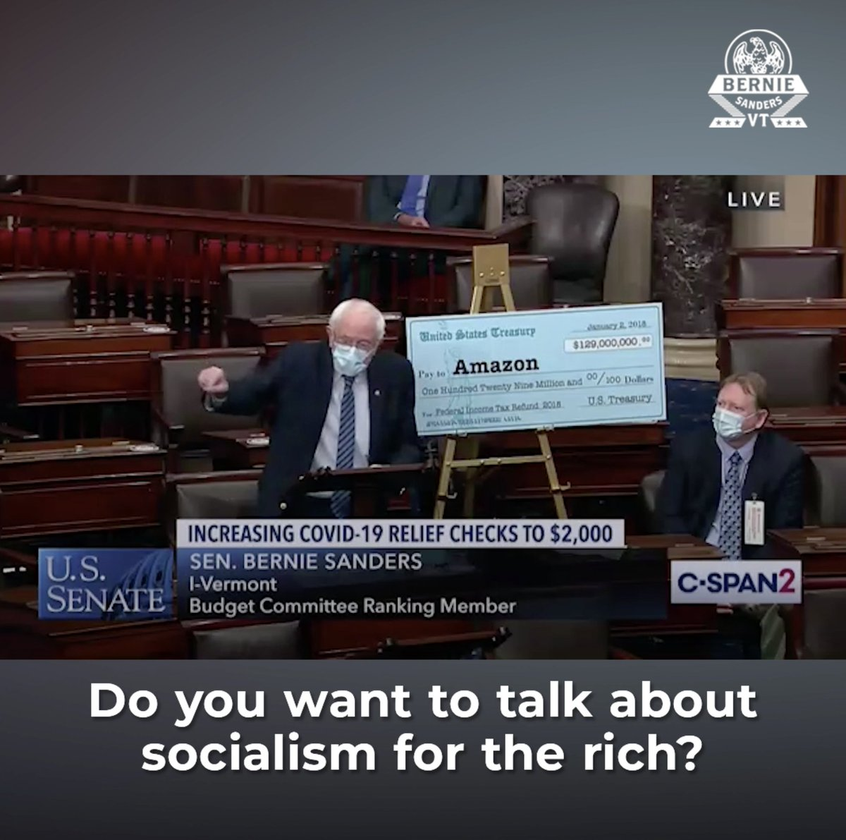 "Amazon made $10.8 billion in profits, didn't pay a dime in federal taxes, and got a $129 million check from the IRS—courtesy of Mitch McConnell and the Republican Senate.  But as our people suffer, a $2,000 check to the working class is ""socialism for the rich""? Give me a break."