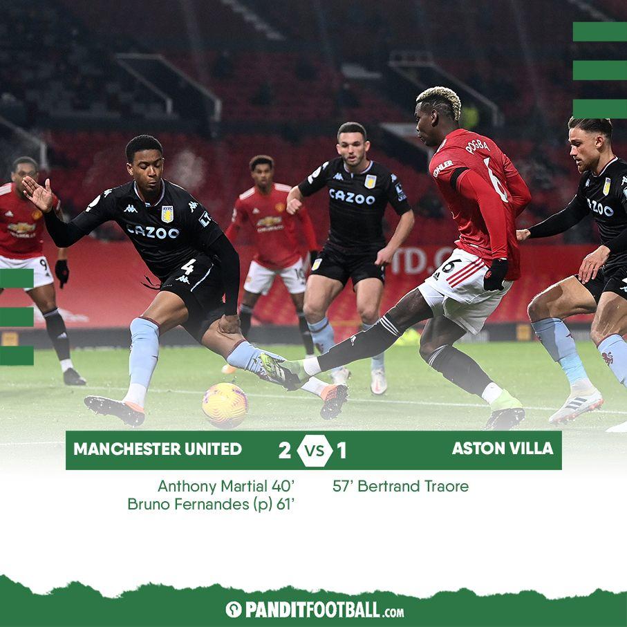 Manchester United membuka tahun 2021 dengan sebuah kemenangan melawan Aston Villa. Kemenangan yang membuat Setan Merah memiliki jumlah poin yang sama dengan pemuncak klasemen sementara Premier League, Liverpool.