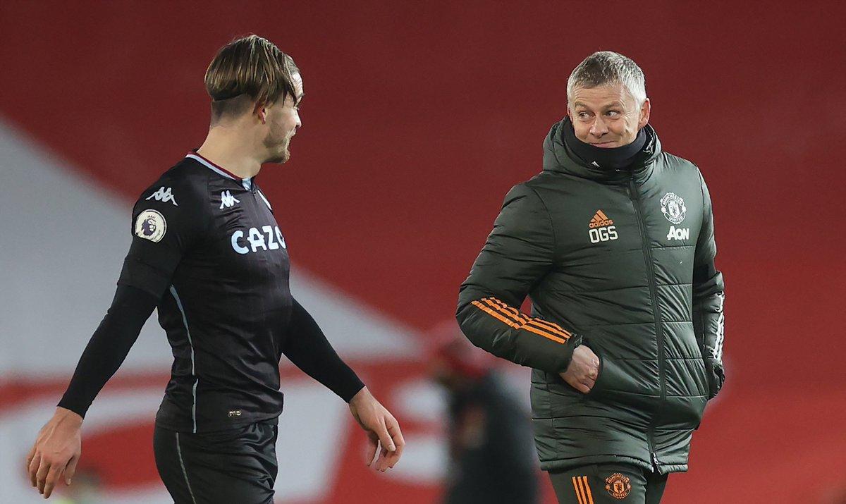 """utdreport on Twitter: """"Solskjær and Jack Grealish at full-time 👀… """""""