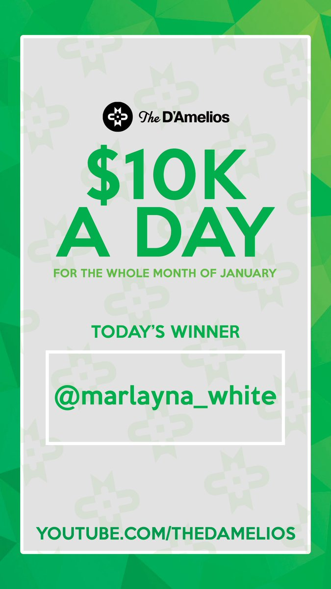 Happy New Year and congratulations to the first D'Amelio Family $10K A DAY winner Marlayna White. @marcdamelio @heididamelio @dixiedamelio @charlidamelio https://t.co/XRBEtzUCM0