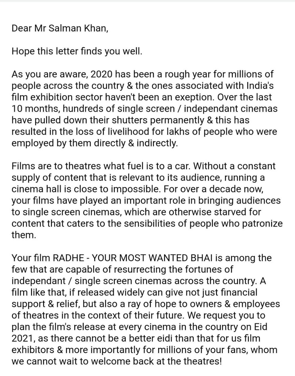 Dear @BeingSalmanKhan, Here's a humble appeal by the film exhibition sector. Truly hope #Radhe can offer some much needed relief to theatres & joy to your fans all over the country! We want #RadheOnEid in cinemas!  #SupportCinemas #SaveJobs #India #RadheInCinemas @SKFilmsOfficial