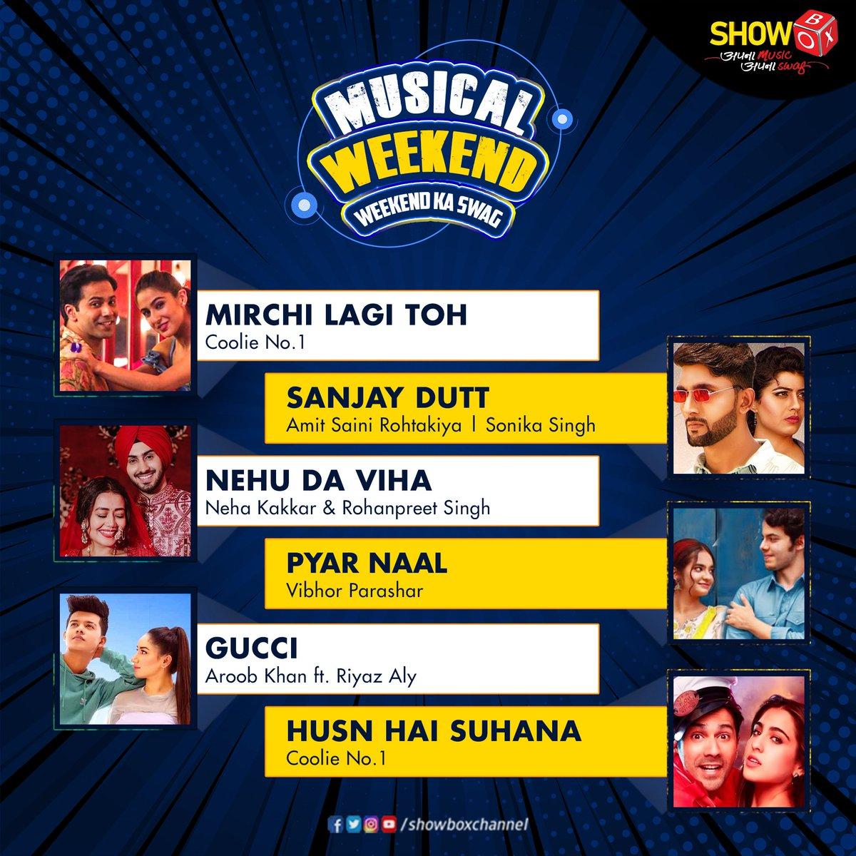 Naye saal mein karo jee bharke dhamaal.  Watch these blockbuster songs on ShowBox and enjoy 2021's first weekend in style.  #MirchiLagiToh #VarunDhawan #SaraAliKhan #SanjayDutt #SonikaSingh #AmitSainiRohtakiya #NehuDaVyah #NehaKakkar #RohanpreetSingh #Gucci #AroobKhan #RiyazAly
