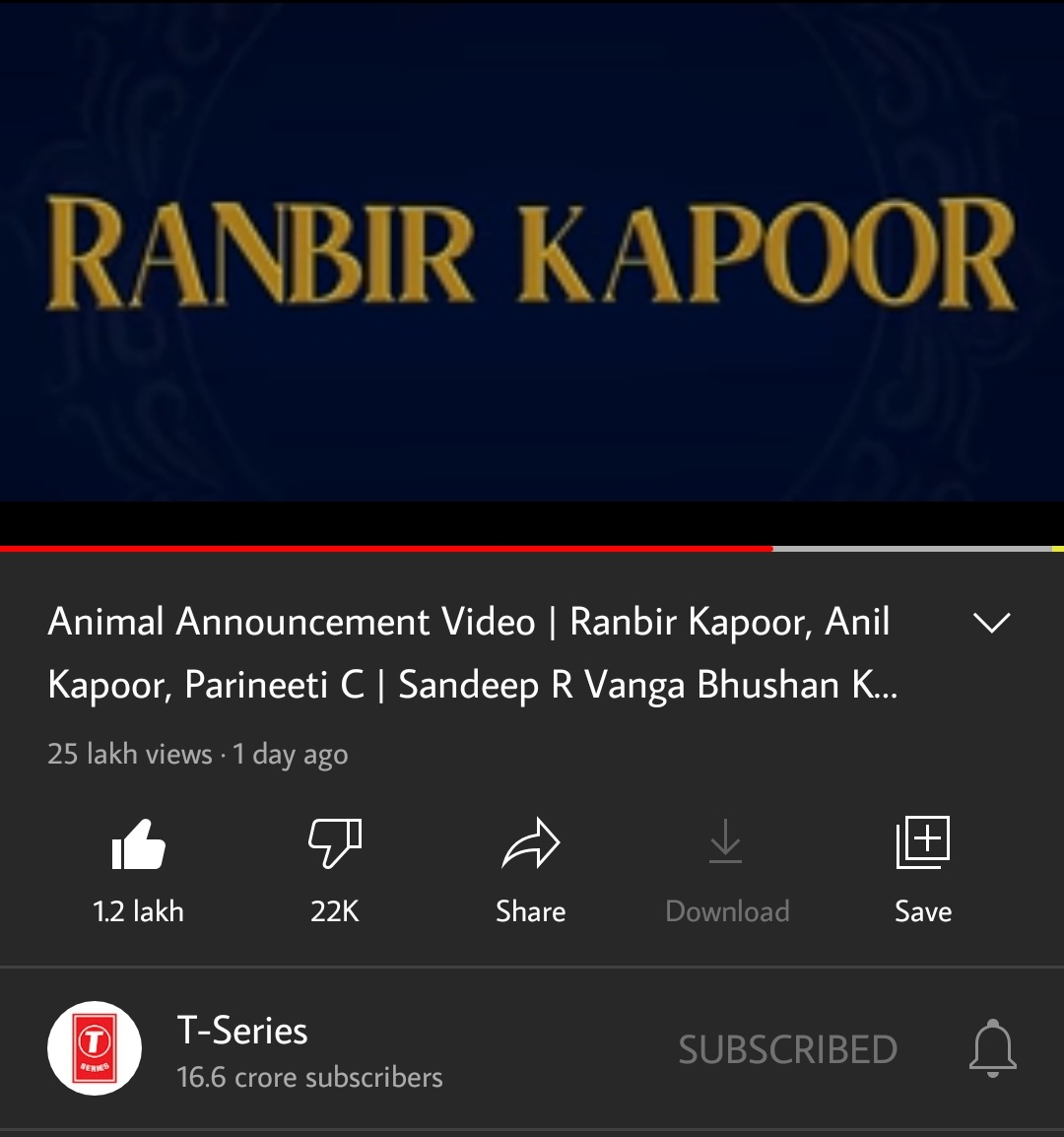 Every other production channel is hiding their likes and dislikes of any teaser/trailer of any new film! But Tseries doesn't hide Animal's likes and dislikes! They trust on fandom of RK! #RanbirKapoor #TSeriesFilms #Animal